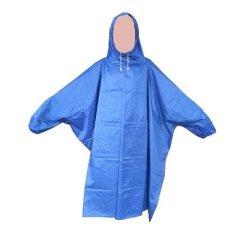 Jas Hujan Ponco Lengan - Bahan Taslan Seperti Jashujan AXIO - Bukan Bahan Karet - Biru puzzisyukur