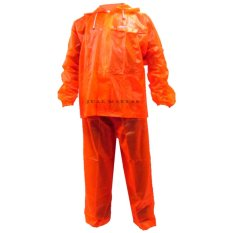 Raincity Jas Hujan Setelan Transparant - Raincoat Dewasa Jaket Celana Pria Wanita Murah - Jingga