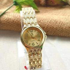 JCF Jam Tangan Emas Analog Fashion Wanita Cantik Mewah - 584 Bulat Gold