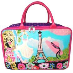 JCF- Premium Tas Anak dan Wanita Dewasa Fashion Travel Bag Kanvas Kotak - Bistro De Paris Topi