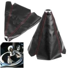 JDM PVC Hitam Perlengkapan Kulit Tuas Transmisi Manual Selubung Tuas Persneling W/Stitch Biru Universal