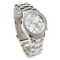 Jenewa Tanggal Jam Tangan Kristal Kuarsa Mewah Wanita Wanita Perhiasan Perak