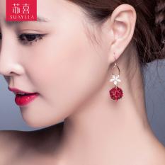 Jepang dan Korea Selatan berlian imitasi merah dot matrix anting-anting anting-anting