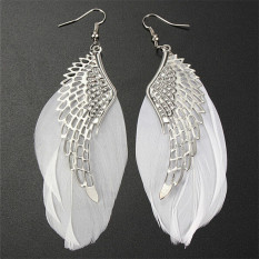 Jetting Buy Sayap Malaikat Putih Anting dengan Bulu Menjuntai Fashion Jewelrylong Anting-Anting untuk Wanita