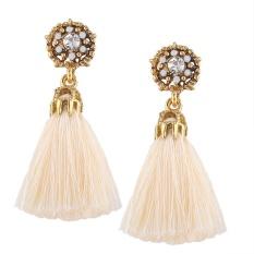 Jewel-encrusted Women Earrings Fashion Rhinestone Long Dangle Tassel Ear Drop Color:Beige - intl