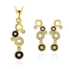 Perhiasan Combo Set Online Shopping Women Pesta Trendi Tin Alloy Kalung/Anting Anting Kalung Round Rose Berlapis Emas- INTL