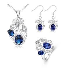 Perhiasan Set Combo Belanja Online Zirkon Wanita Romantis Anting Pesta Cincin Kalung Tembaga Perhiasan Pengantin Set Perak Berlapis Tanaman-Intl