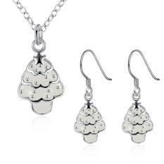 Perhiasan Set Pembelian Online Wanita Pesta Trendi Tembaga Kalung/Anting Kalung Anting Tanaman Berlapis Perak Putih-Intl