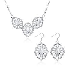 Perhiasan Set untuk Pernikahan Online Women Pesta Klasik Tembaga Kalung/Anting Kalung Anting Tanaman Silver Berlapis-Internasional