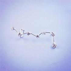Perhiasan Anting-Anting Giwang Telinga Manset Berlian Buatan Constellation Desain Wanita Telinga Hadiah Perak Satu Ukuran-Internasional