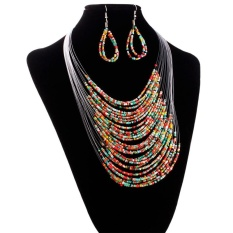 Jewelry Multicolor Multi-layer Resin Beads Necklaces and Earrings Set CO - intl