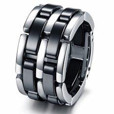 Beli Korea Fashion Perhiasan Kebaruan Keramik Ring Cincin Stainless Steel Band Lipat Berantai Jari Murah