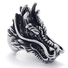 Jual Perhiasan Stainless Steel Dragon Gotik Vintage Cincin Pria Pengendara Bermotor Hitam Silver Satu Set