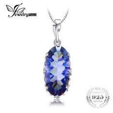Jewelrypalace 11.8ct Asli Mistik Biru Pelangi Batu Topas Liontin Polos 925 Sterling Perak Modis Merek Perhiasan Tanpa Rantai-Internasional