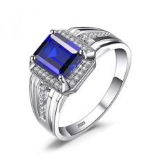 Jewelrypalace Mewah 4.6ct Dibuat Biru Safir Pernikahan dan Pertunangan Cincin untuk Pria Asli 925 Sterling Perak Ukuran 7-Internasional