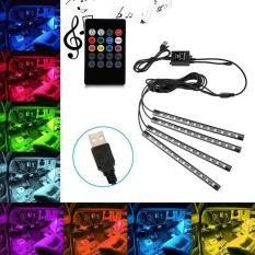 Jiaukon Lampu Interior Mobil, USB Mobil LED Strip Lampu Suasana Neon Lampu RGB dengan Musik dan Remote Control Nirkabel, 4 Pcs-Intl