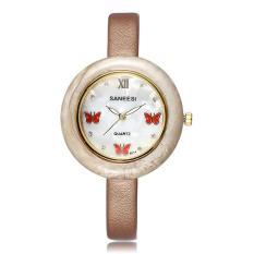 Jiaukon EBAY Panas Di Saint Fashion Kupu-kupu Kecil Diamond Dial Watch Strap Decoration Ladies Watch Satu Generasi (Brown)