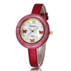 Jiaukon EBAY Panas Di Saint Fashion Kupu-kupu Kecil Diamond Dial Watch Strap Decoration Ladies Watch Satu Generasi (Merah) -Intl