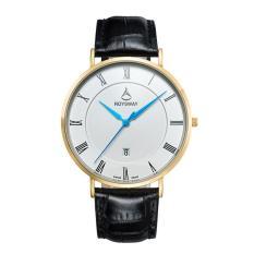 Jiaxiang Baru Ultra Large Dial Mens Asli Wei Lois Stereo Cermin Jam Tangan Tahan Air Pria Fashion Jam QUARTZ (goldblue)