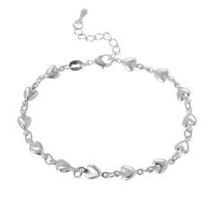 Jiayiqi Fashion Hearts Silver Plated Chain Link Womens Gelang-Intl