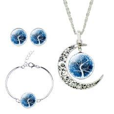 Jiayiqi Pohon From The Waktu Hidup Pasangan Anting-Anting Permata Kalung Gelang Perhiasan Set (Biru Tua)