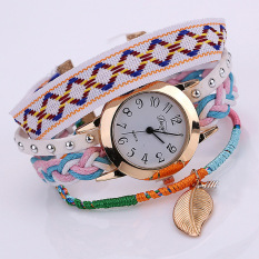 Jingle Wanita Retro Gelang Kulit Daun Dekorasi QUARTZ Wrist Watch (Putih)