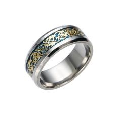 Jinlong Titanium Steel Perhiasan Dragon Cincin Bertatahkan dengan Potongan Perak Stainless Steel Cincin Dapat Tungsten Steel-Intl