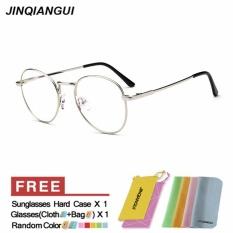 Iklan Jinqiangui Kacamata Bingkai Pria Oval Titanium Eyewear Silver Warna Bingkai Perancang Merek Bingkai Tontonan Untuk Nearsighted Kacamata Intl