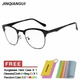 Spesifikasi Jinqiangui Kacamata Bingkai Pria Kotak Kacamata Hitam Hapus Lens Fashion Paling Bagus