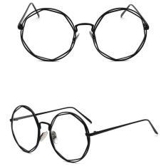 JINQIANGUI Kacamata Bingkai Wanita Bulat Kacamata Hitam Hapus Lensa Fashion