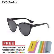 Spesifikasi Jinqiangui Kacamata Wanita Mata Kucing Retro Bingkai Plastik Berjemur Kacamata Warna Hitam Eyewear Merek Desainer Uv400 Intl Yg Baik