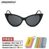 Beli Jinqiangui Kacamata Wanita Mata Kucing Retro Bingkai Plastik Sun Glasses Brightblack Warna Eyewear Merek Desainer Uv400 Intl Cicil