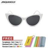 Diskon Jinqiangui Kacamata Wanita Mata Kucing Retro Bingkai Plastik Sun Kacamata Putih Warna Eyewear Merek Desainer Uv400 Intl Akhir Tahun