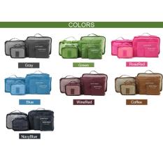 Jo. Dalam 6 Pcs Perjalanan Bagasi Tas Baju Organizer Besar Medium Kantong Ukuran Kecil Handbag Koper (merah)