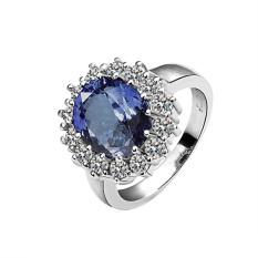 Jo. Di R027-8 Grosir Tinggi Kualitas Nickle Gratis Antiallergic Baru Fashion Perhiasan 18 K Nyata Cincin Berlapis Emas untuk Wanita Gratis Pengiriman (Silver + Biru) -Intl