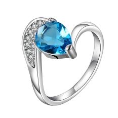 Toko Jo Dalam Grosir Kualitas Tinggi Nikel Gratis Antiallergic Baru Fashion Perhiasan 18 Kb Berlapis Emas Cincin Silver Biru Oem Tiongkok
