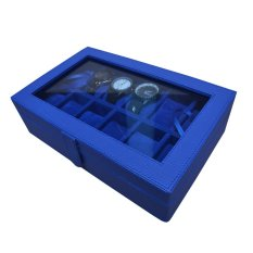 Jogja Craft Benheur Blue Watch Box / Tempat Jam / Kotak Jam Tangan Isi 12