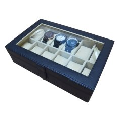 Jogja Craft Black Cream Watch Box / Tempat Jam / Kotak Jam Tangan Isi 12