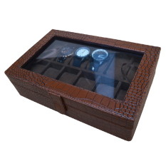 Jogja Craft Elegan Brown Croco Watch Box / Tempat Jam / Kotak Jam Tangan Isi 12