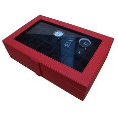 Jogja Craft Watch Box / Box Jam / Kotak Jam / Tempat Jam Isi 12 - Merah-Hitam