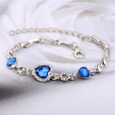 Jual Jo In Fashion Elegant Women Shinny Crystal Rhinestone Heart Shape Charm Bangle Bracelet Jewelry Gift Intl Branded Murah
