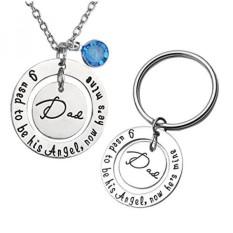 Jovivi 2 Pcs Ayah/Ibu Hari Keychain Set Kalung, Aku Digunakan untuk Menjadi/malaikatnya Sekarang HE/Dia Tambang Ayah/Ibu Kristal Memorial Necklace- INTL