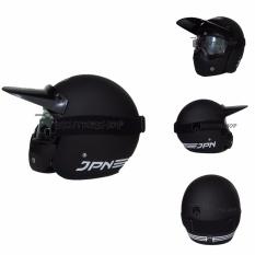 JPN Helm ARC With Goggle Mask Retro Klasik Jap Style Motocross Shark Raw Visor Clear Doff Plus Semicross Pet - Hitam