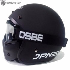 Beli Jpn Helm Arc With Osbe Goggle Mask Retro Klasik Jap Style Motocross Shark Raw Visor Clear Doff Hitam Kredit