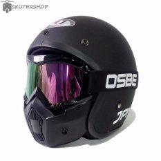 JPN Helm ARC With OSBE Goggle Mask Retro Klasik Jap Style Motocross Shark Raw Visor Rainbow