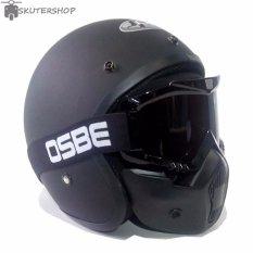 JPN Helm ARC With OSBE Goggle Mask Retro Klasik Jap Style Motocross Shark Raw Visor Smoke Doff - Hi