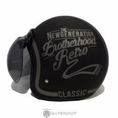 JPN Helm Bogo Retro Klasik NeVer Die Kaca Original Silver Black Doff - Hitam