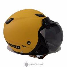 JPN Helm Momo Retro Klasik Kaca Bogo Original Yellow Doff - Kuning