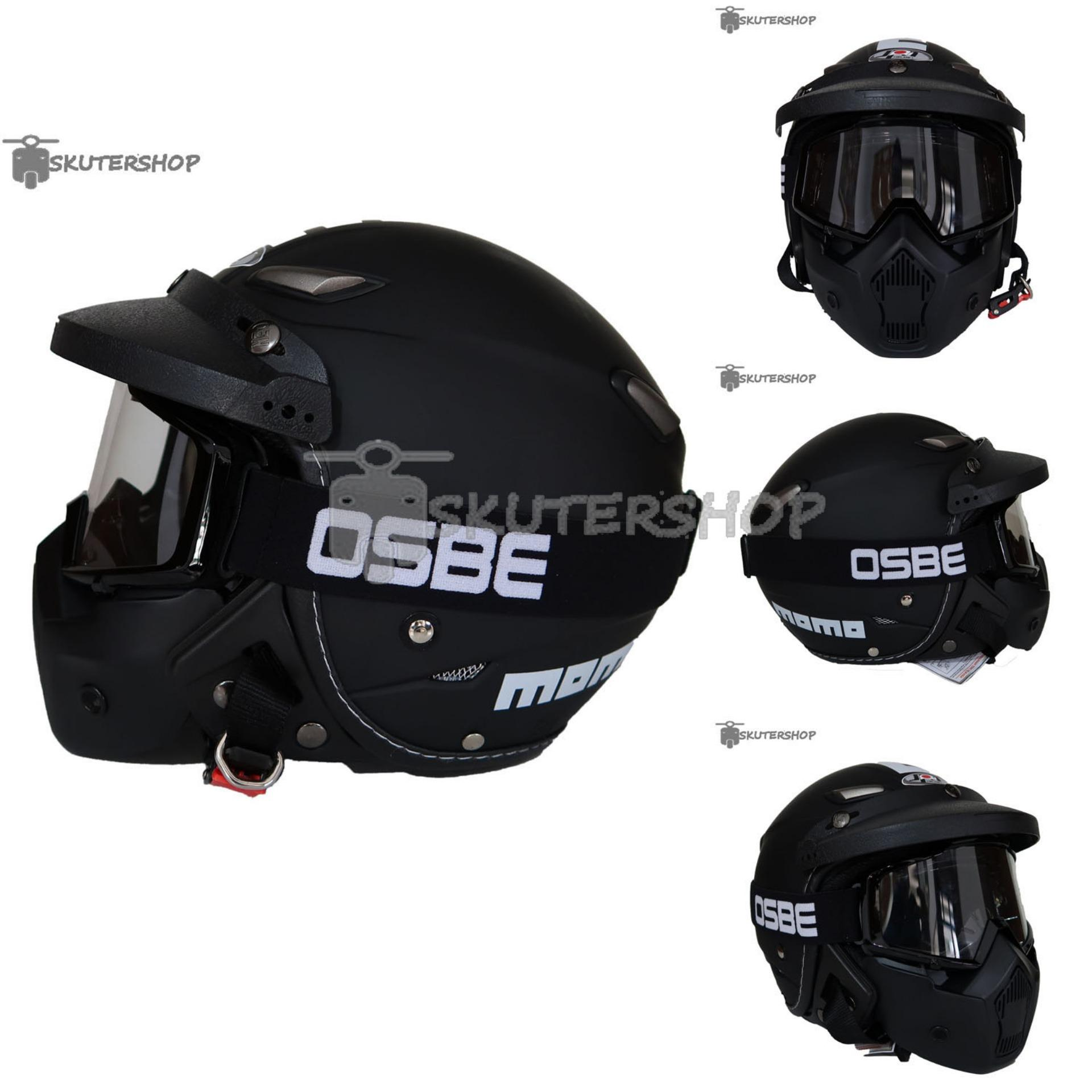 JPN Helm Momo Vintage With OSBE Goggle Mask Plus Pet Jeruk Hitam Retro Klasik Jap Style