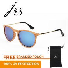 Spesifikasi Jrs Kacamata Wanita Cokelat Kayu Lengan Kacamata Gold Bundar Proteksi Uv 400 Lensa Biru P2538Wd Rv Bagus